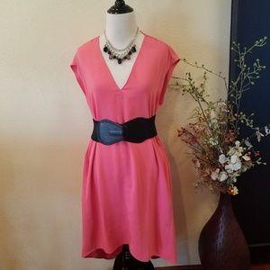 RACHEAL Racheal Roy Pink Coral Oversized Dress Med